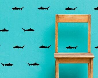 Shark Wall Decals - Set of 30 - Peel and Stick - Decals - Ocean - Sharks