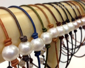 Leather and Freshwater Pearl Jewelry - Leather Bracelet (SanDe)