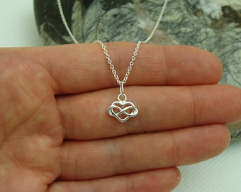 Pendant, Sterling Silver Infinity Heart pendant, sterling silver charm, Infinity Heart charm