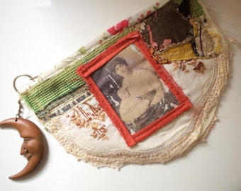 Upcycled Womens Purse, Victorian Photograph, Vintage Doily, Upcycled Zip Pouch, Assemblage Purse, Zip Pouch, Coin Purse