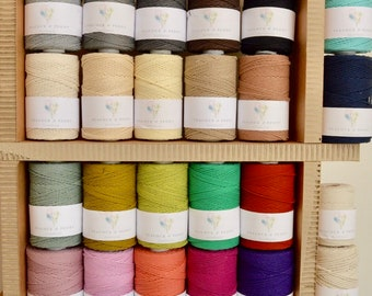 2.5 mm Twisted 100% cotton macrame rope - 130 meters - in 23 colors!