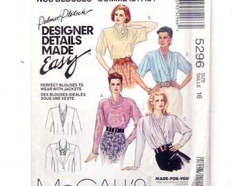 McCall's Blouse Pattern #5296 - UNCUT - Size 16 (Bust 38) - Palmer/Pletsch Design