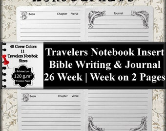 Travelers Notebook Insert: Bible Verse Writing w/ Journal Space, Bible Study, Devotional, Scripture Study, 11 Sizes, 40 Cover Colors