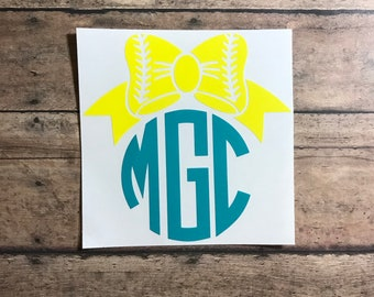 softball monogram / decal / softball / monogram / stitches / baseball / team / sport