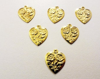LOT 5 METALS CHARMS Gold: heart 16mm