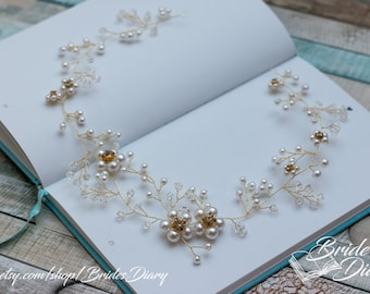 Wedding hair jewelry, pearls and crystals bridal wreath, bridal gold hair vine