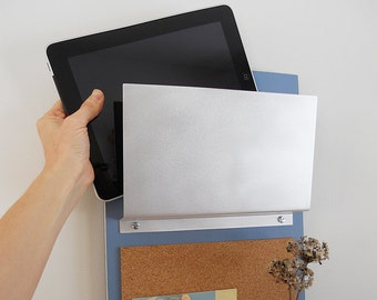 MODERN MESSAGE CENTER: Storage Unit with Cork Board, Key Hooks and Shelf for iPad, iPhone for Home, Office or Dorm organization.