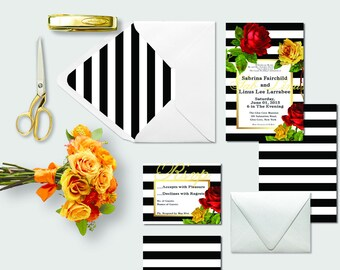 Wedding Invitations in Black and White Stripes / Black and White Stripe Envelope Liners B&W Striped Invitation / PRINTED Wedding Invitation