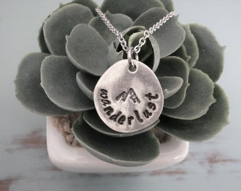 Hand Stamped Wanderlust With Mountain Necklace