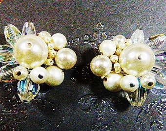 Vintage 1960s VENDOME Pearl and Aurora Borealis Clip Earrings - V-EAR-635 - Pearl Earrings - AB Earrings