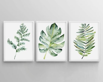 Botanical print set, Leaf print, Watercolor kitchen art, set of prints, Monstera, Fern leaf, Digital poster set, Art prints, Spring decor