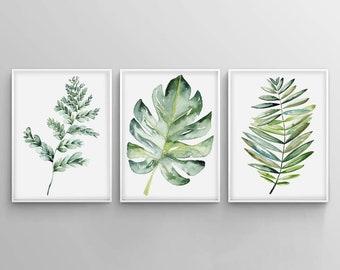 Botanical Print Set, Leaf Print, Watercolor Kitchen Art, Set Of Prints,  Monstera