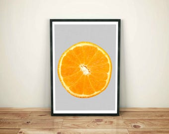 Orange Print, Orange, Orange Art, Kitchen Decor, Printable Wall Art, Kitchen Print, Fruit Art, Orange Wall Art, Modern Print, Download Print