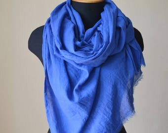 mothers day gift for grandma cotton scarf blue scarf wife birthday gift blue gift wife spring scarf fashion scarf long scarf womens scarves