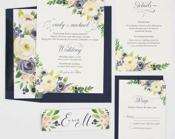 Navy Floral Wedding Invitations - Navy & White - Wedding Invitations - Navy and White Blooms Collection Deposit