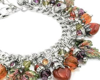 Autumn Bracelet - Autumn Leaves - Fall Jewelry - Fall Bracelet - Thanksgiving - Carnelian Jewelry