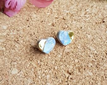 Heart ceramic earrings, gold detail, stud earrings, post earrings, handmade