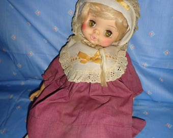 "rare-vintage 1973 HORSMAN baby doll-nice outfit-18""vinyl doll with sleep eyes,dimpled knees,ORIGINAL outfit,"