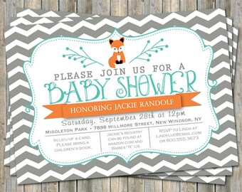 large chevron fox baby shower invitation, orange and turquoise, digital, printable file