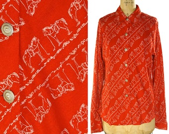 80s Horse Print Western Shirt / Vintage 1980s Roper Button Up Shirt / Red & White Novelty Print Blouse with Concho Buttons / Extra Large