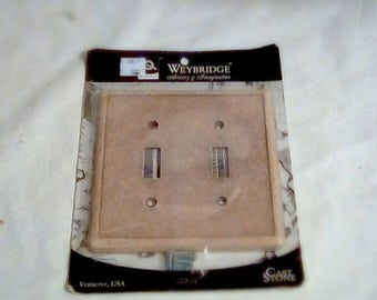 Double Switch Cover, Weybridge Cast Stone Dual Light Switch Cover, Wall Switch Cover, New In Original Package