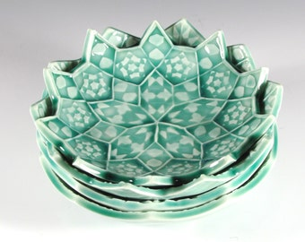 Set of Four Nesting Bowls - Emerald Green Lotus Flowers