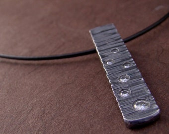 Zen Sterling Silver Galaxy Moissinite Pendant Black Sparkle Hammered Texture Necklace Modern Leather Cord