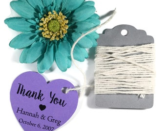 Personalized Heart Shaped Tags 20pc - Purple Heart Tags - Bridal Shower Tags - Wedding Favor Tags - Custom Plum Heart Thank You Tags