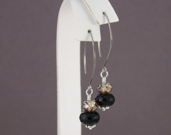 Natural Niobium earrings Black Onyx and Swarovski Crystal Bronze Shade stacked rondelles
