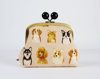 Metal frame clutch bag - Dogs portraits on off white - Color bobble purse / Japanese fabric / caramel brown black white grey red