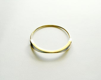 Arc Bangle-Gold Bangle Bracelet-Oxidized Brass Bangle-Statement Bangle Bracelet-Modern Bangle Bracelet-Contemporary Minimalist Brass Jewelry
