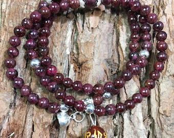 Red Garnet Crystal jewellery, Garnet Bracelet Gemstone Bracelet, Colorful Bracelet, Jewelry for Her, sterling silver braceler, religious