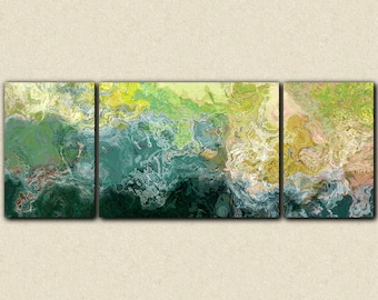 """Oversized triptych abstract art 30x80 to 34x90 canvas print, giclee in blue, green and yellow, from abstract painting """"Sea Coast"""""""