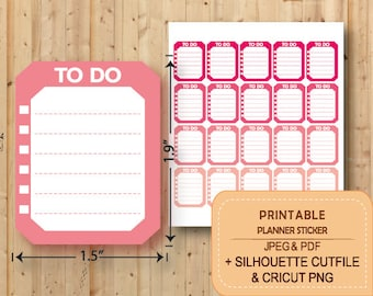 PRINTABLE To Do Checklist Stickers, Planner Stickers Printable, Erin Condren, Checklist Full Box, Happy planner, STR001