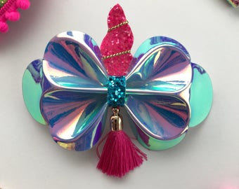 Magical unicorn butterfly tassel, faux leather, iridescent hair clip,headband, hair bow