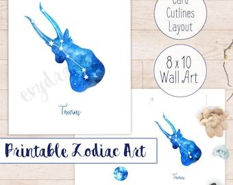 Taurus Constellation Printable   Gift Idea for Taurus Birthday, Star Sign Greeting Card, DIY Gifts, Digital Download Zodiac Art Print Poster