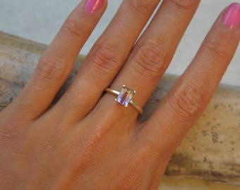 Yellow Gold Ametrine Ring    7x5 Emerald Cut Yellow & Purple Stone   Amethyst and Citrine   Solitaire Ring   Made To Order