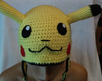 Crochet Pokemon Inspired Pikachu Adult Yellow and Black Hat Ear Flaps and Braids  Pikachu Face Whimsical Hat for Comic Con Free Shipping