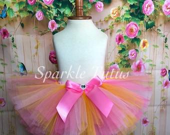 ON SALE, FAST Shipping, Hot Pink, Light Pink and Yellow Tutu, Birthday Tutu, Baby Minnie Inspired Tutu, Fairy Peppa Pig Inspired Tut,
