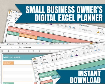 Small Business planner, digital excel spreadsheets for small business, excel organise business for the self-employed, editable planner excel