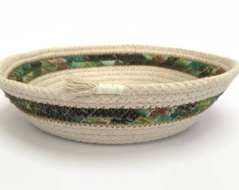 Easter rope basket, storage container, rope bowl, coiled natural rope, natural cotton, home decor, jewelry dish, trinket tray, organisation