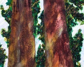 """Redwoods - Original 15""""x30""""x1.5"""" Acrylic Painting/Mixed Media on Gallery Wrapped Heavy Duty Canvas"""