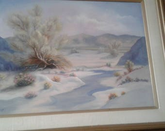 Vintage Desert White Sand/Cactus/Mountains/  Clouds/Oil On Canvas/ Signed ViiVi