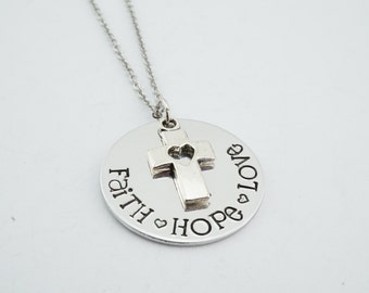 Faith hope love hand stamped religious necklace! Confirmation gift - teen girl gift - gift for teen - faith hope & love - bible verse gift