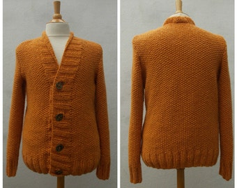 Men's alpaca cardigan, men's cardigan, knit men's cardigan, ochre cardigan, orange cardigan, mustard cardigan, men's sweater, OOAK men knit