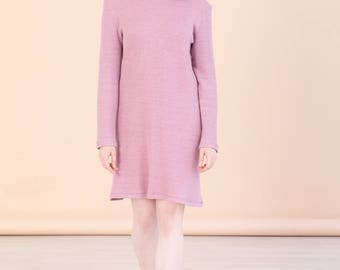 Pink hemp sweater dress - Womens vegan knitwear