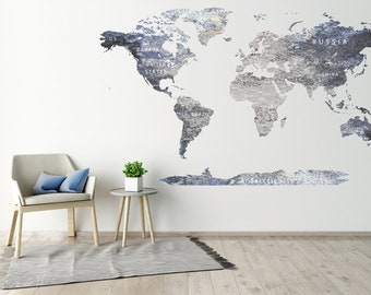 Vinyl world map etsy vinyl printed olorful titles gray world map sticker detailed map decal print map with countries push gumiabroncs Choice Image
