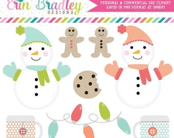 80% OFF SALE Holiday Christmas Clipart Clip Art Personal & Commercial Use Snow Day Fun, Snowman Clipart Graphics