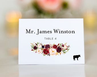 Escort Cards with Meal Icons, Burgundy Flowers Wedding Place Cards, Name Cards, Elegant Escort Cards