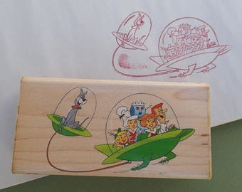 Jetsons Rubber Stamp, Hanna Barbera TV Show, George, Jane, Judy, Elroy, Astro, Rosie the Robot, Animation, Space Age Modern